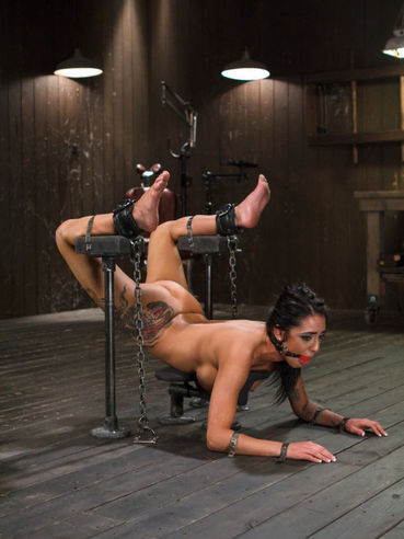 Alexa Aimes Chained, Gagged And Getting Her Body Teased And Drilled With Toys During Bondage.