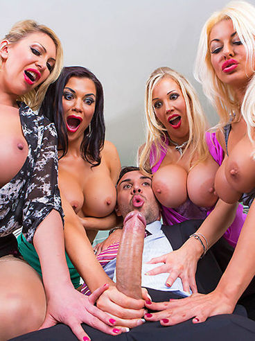 Rebecca More And Her Busty Friends Tia Layne, Jasmine Jae And Leigh Darby Pose Topless