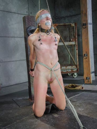 Emma Haize Is A Tight Bondage Spot While She Is Blindfolded And Getting Whipped By Her Masters.