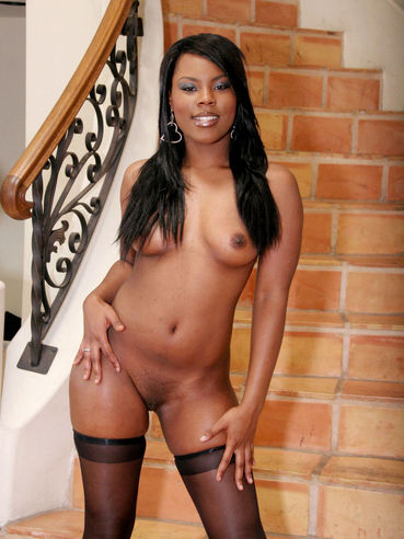 Stunning Black Model Coffee Brown Is Posing I Sexy Stockings And Sucking.