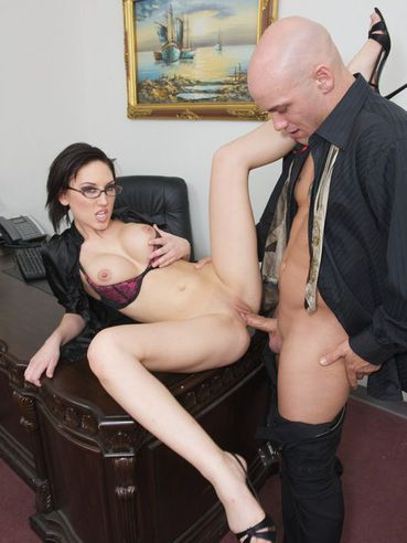 Busty Office Babe In Glasses Mindy Main Spreads For Tattooed Boss And Gets Fucked Silly